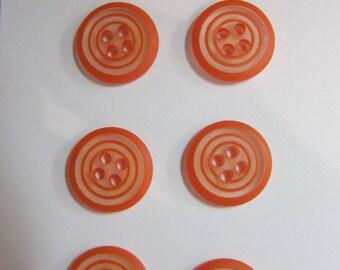 2 buttons 4 holes transparent spiral orange 11 mm