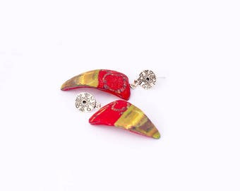 Predominantly red and multicolor earrings like nail polymėre clay