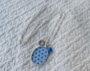 Necklace pendant cabochon oval Japanese paper, silver chain, charms, hard blue