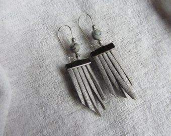 Earrings grey glitter suede fringe, gemstone and silver, elegant earrings, Christmas