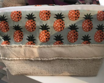 Tote bag white linen and cotton pineapple motif