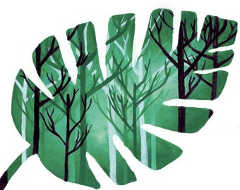 Green Leaf/Trees Acrylic Painting Prints