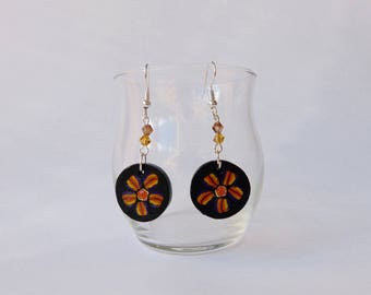painted flowers on black background, 2 Pearl Earrings