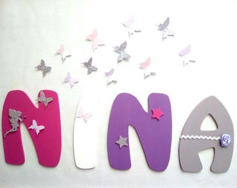 decorative name girl - letters size 20 cm wooden letters