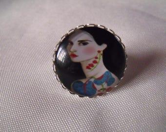 retro woman 25mm glass cabochon ring
