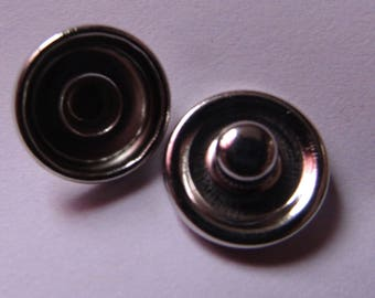 2 silver plated brackets for cabochon 10mm / 12mm