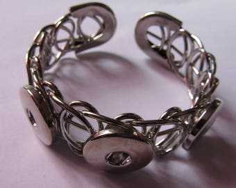 silver bracelet for 3 snap 18mm / 20mm