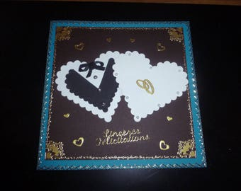 with hearts wedding card