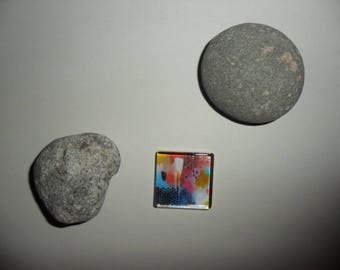 glass cabochon with colorful abstract patterns, 25 x 25 mm square