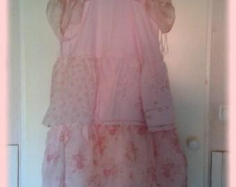 Sweet vintage pink linen dress