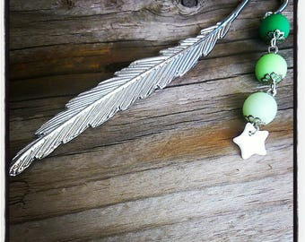 Silver feather bookmark with green beads and Star
