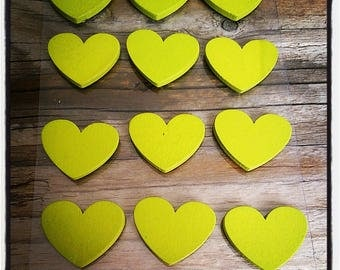 set of 12 wooden hearts to paste green 25mm