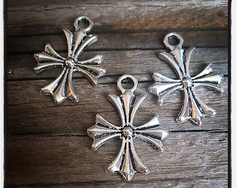 set of 3 Silver Cross pendants ages - charms / pendants - 25x20mm