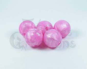 10 round beads 12mm pink metal silicone pacifier, rattle etc.