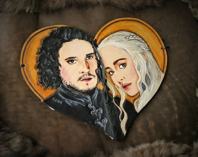 Carnet Coeur album journal fan de Game of thrones en cuir Repoussé double face Jon Snow Daenerys Targaryen A song of ice and fire