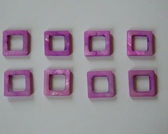 Pink fuchsia Pearl 20mm hollow square bead