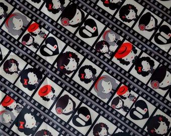 """Grey PVC coated fabric * waterproof * """"ROCKABILLY"""" pattern"""