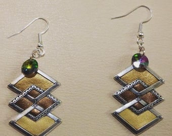 ART DECO OLD SILVER, FAUX LEATHER EARRINGS 3 GOLDS, AND THE SWAROVSKI PEARL