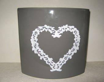 Free shipping! Gray vase white heart