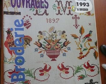 DMC magazine, in french, Diagrams, embroidery and crosstitch book - vintage 1993