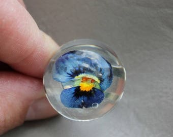Ring cabochon 2.5 cm in resin and dried flower Pansy blue