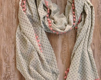 Scarf/shawl / scarf woman light grey, dark grey butterflies and pink PomPoms