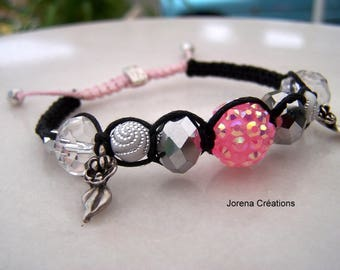 Gorgeous fairy pink and black shamballa Bracelet