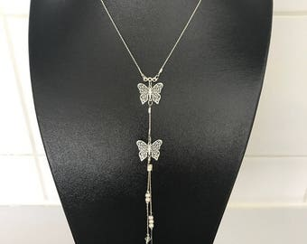 Women trend with two silver plated Butterfly pendants necklace