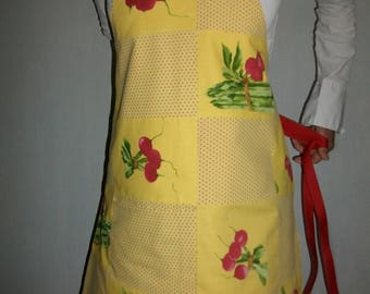 Kitchen apron, patchwork of yellow, red and green