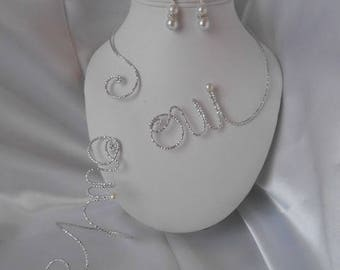 "Wedding 3 piece set ""NELLY"" in Silver Aluminum wire"