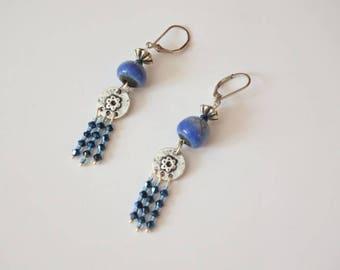 Earrings long, Raku ceramic blue beads of Jean, Swarovski Crystal, silver metal