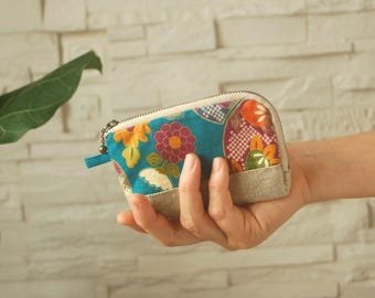 Wallet, card holder with Japanese fabric - blue