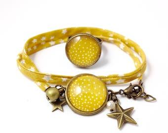 Bronze ornament - snowflake dots (bracelet + ring) cabochon