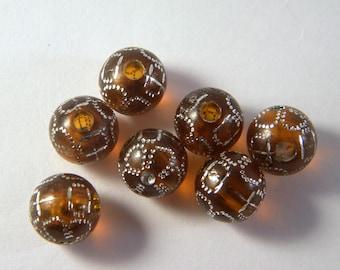 20 transparent Honey Brown shamballa rhinestone 10 mm beads
