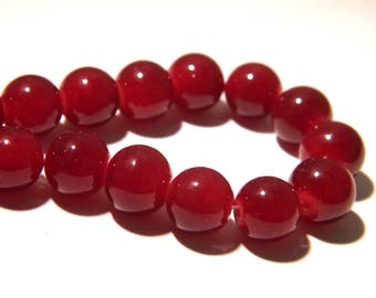 """10 glass beads """"jade"""" red - bordeaux - 10 mm Pearl glass 10 mm - glass bead - 1 K75"""