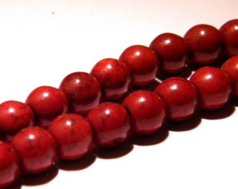 20 beads way howlite-8 mm - Brown Red PG21