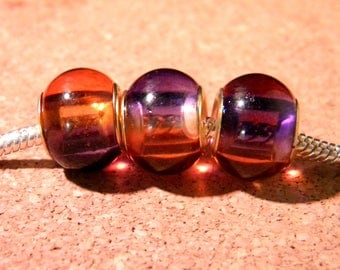 2 bead charm European - glass 2-tones - 15 x 12 mm - purple-orange-D86-2