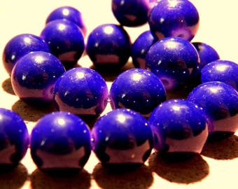 "10 beads-glass 10 mm - way ""jade"" - blue purple night - PF22 3"