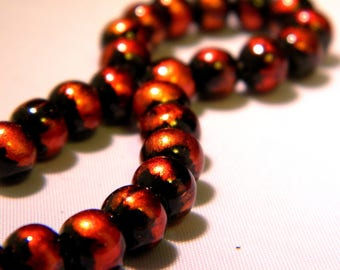 20 6 mm-2 iridescent matte-black and orange glass bead copper - PE263-4