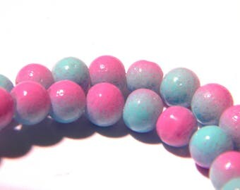 30 beads - 10 mm - two-tone bead - purple and blue - glass - G65-9
