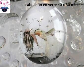 1 cabochon glass 40x30mm woman woman Butterfly theme