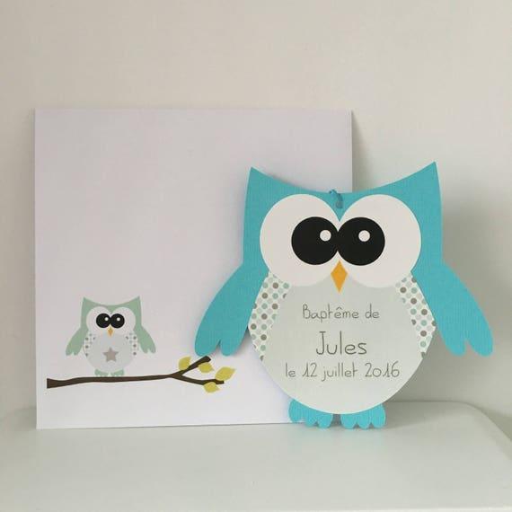 10 invitations bapt me faire part naissance forme hibou bleu. Black Bedroom Furniture Sets. Home Design Ideas