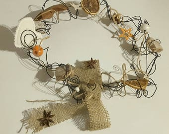 Christmas wreath in Orange and natural annealed iron wire