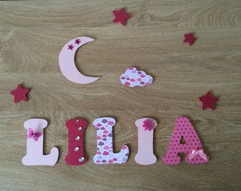 Wood letter - wood name personalized Lilia - Moon pack