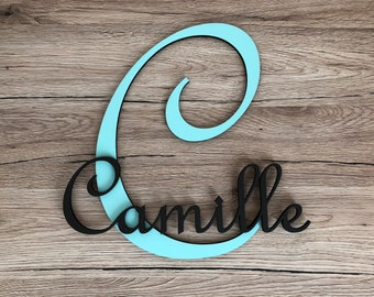 Name personalized initial - Camille - Mint green and taupe - letter collection wood - child's name - child room decoration - table