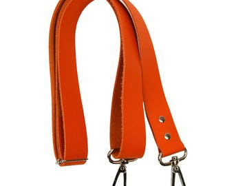 Orange leather adjustable shoulder strap