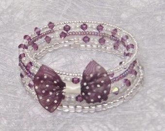 Cuff memory wire 5 row Swarovski crystals, unique Christmas gift