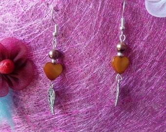 heart and leaf earrings