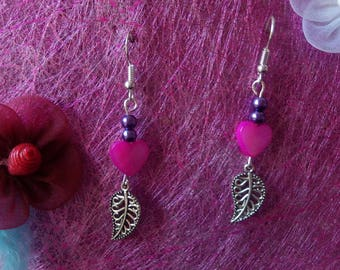 Pink mother of Pearl Heart Earrings