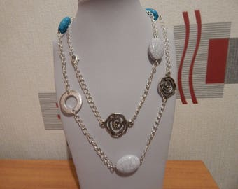 PEARL NECKLACE, BLUE AND WHITE